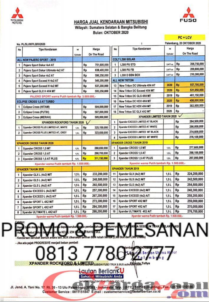 Harga Mitsubishi Palembang